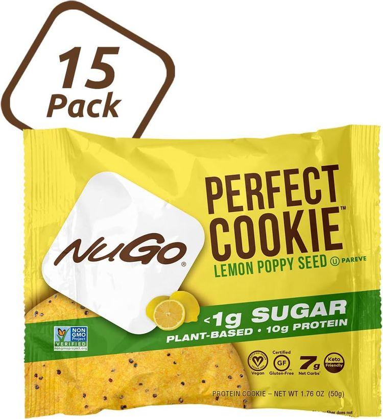 NuGo Perfect Cookie, Lemon Poppy Seed, 10g Vegan Protein, 1g Sugar, 190 Calorie, Gluten Free, 15 Count