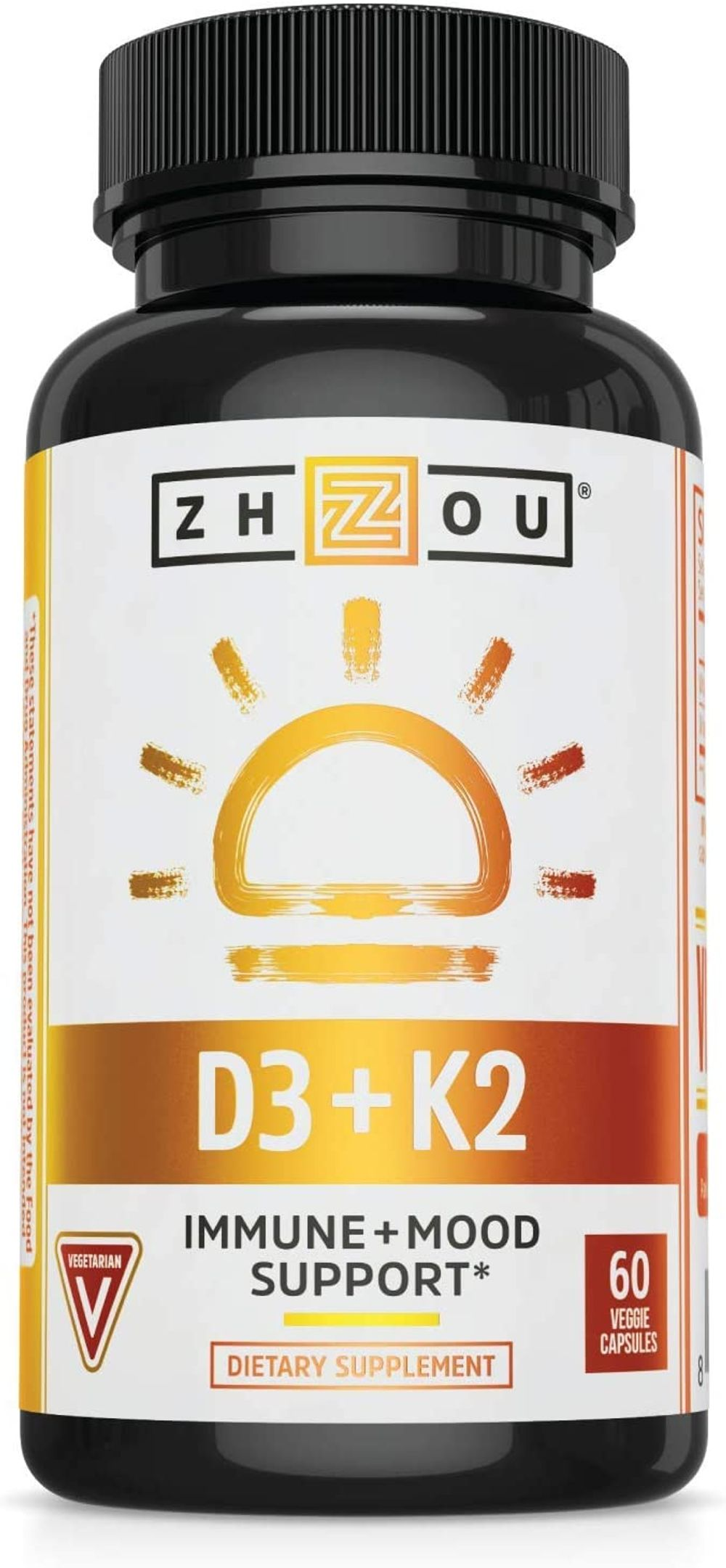 Zhou Nutrition Vitamin D3 K2, Bone and Heart Health Formula Immune Support Vegetable Capsules, 60 Count