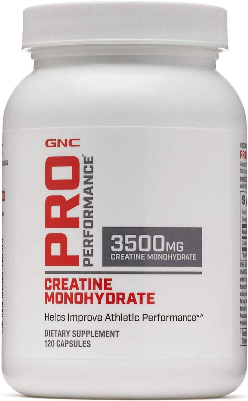 GNC Pro Performance Creatine Monohydrate 3500mg - 120 Capsules, Helps Improve Athletic Performance