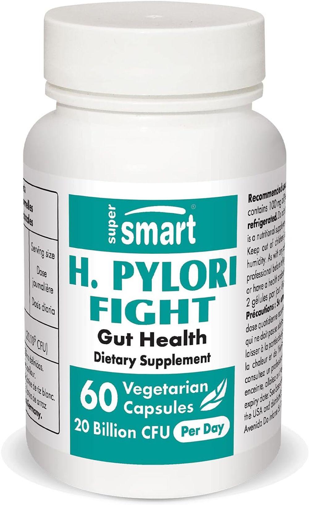 Supersmart - H. Pylori Fight Natural Treatment 20 Billion CFU Per Day - Contains Lactobacillus Reuteri (Probiotic) - Relieves Acid Reflux | Non-GMO & Gluten Free - Made in USA - 60 Vegetarian Capsules