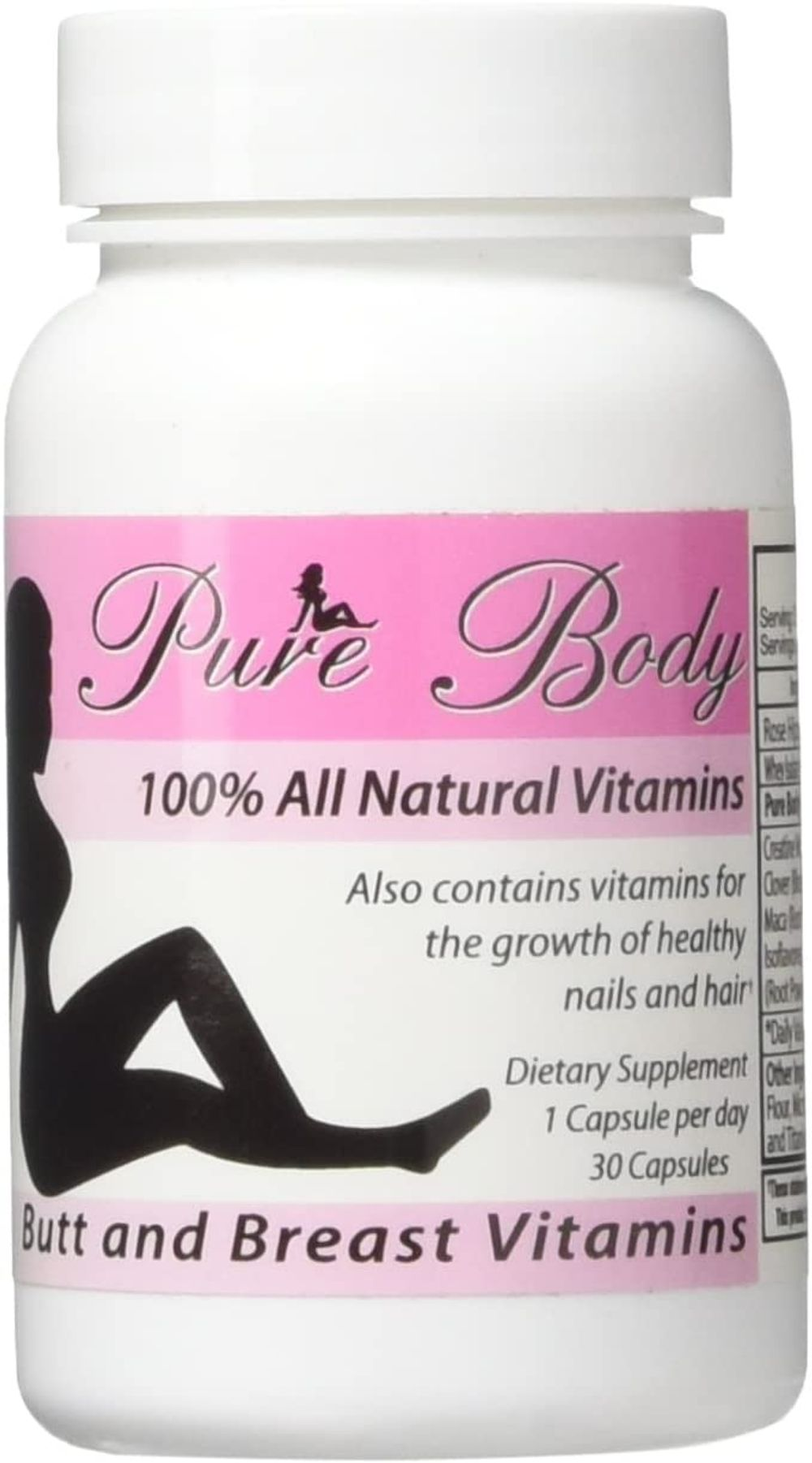 PureBody Vitamins - The #1 Butt and Breast Enhancement Supplement - All-in-One Formula - 30 Capsules