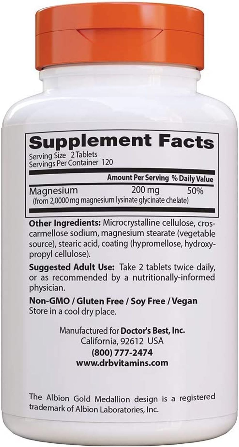 Doctor's Best High Absorption Magnesium Glycinate Lysinate, 100% Chelated, Non-GMO, Vegan, Gluten & Soy Free, 100 mg, 240 Tablets