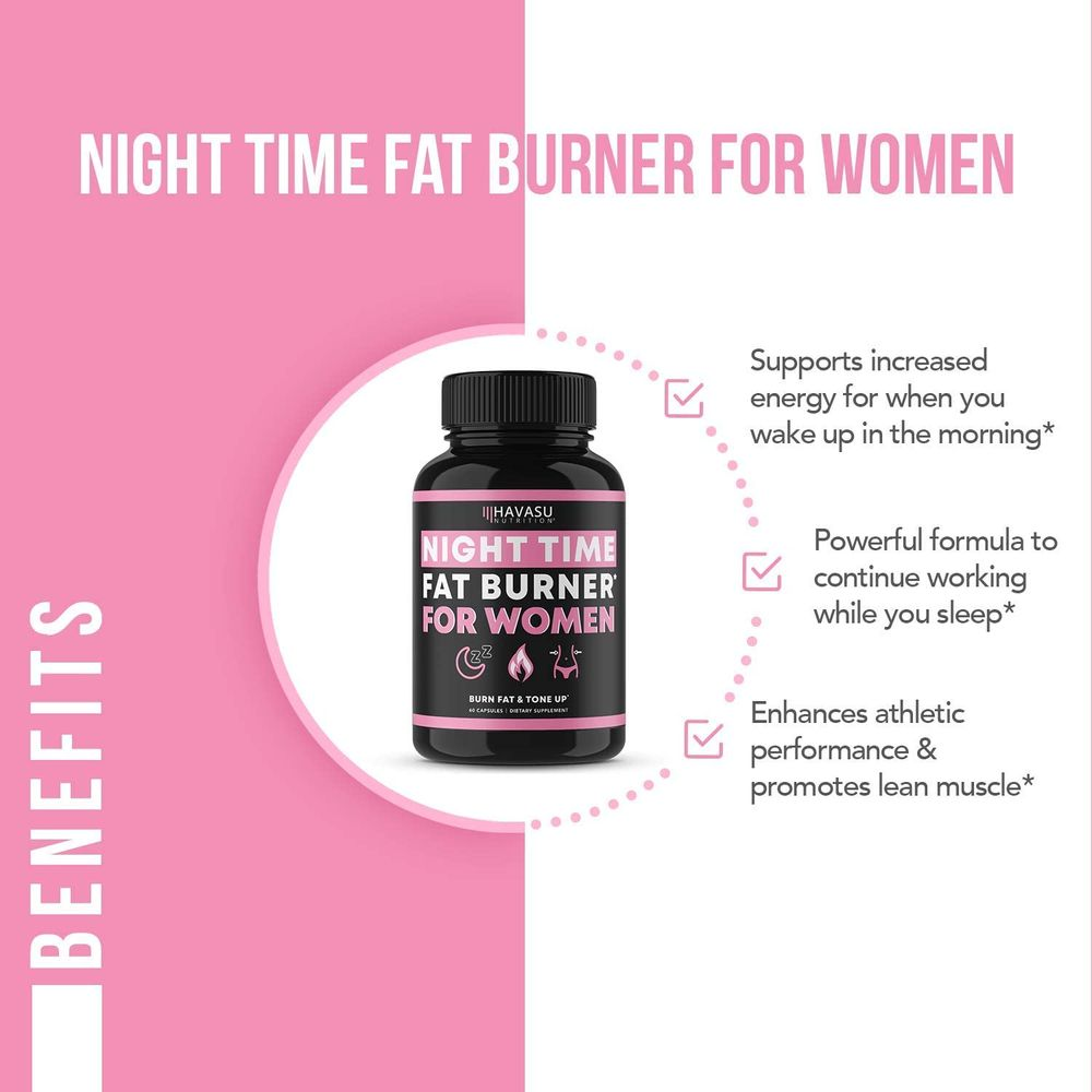 Havasu Nutrition Night Time Fat Burner for Women   Sleep Aid, Appetite Suppressant, and Metabolism Booster for Detox & Cleanse   Healthier Weight Loss   60 Vegetarian Weight Loss Pills for Women