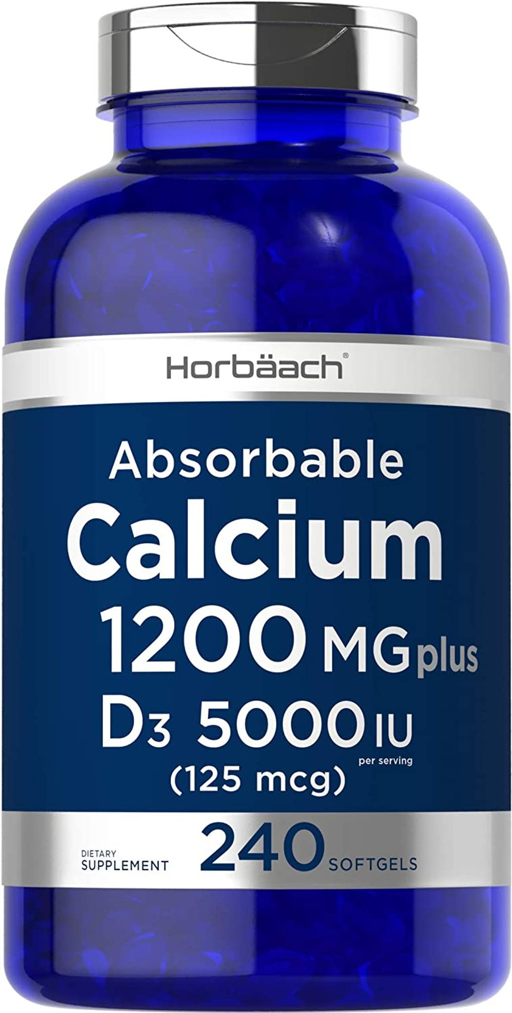 Absorbable Calcium with Vitamin D3   1200 mg   240 Softgels   5000 IU Vitamin D3   Non-GMO, Gluten Free Calcium Supplement   by Horbaach