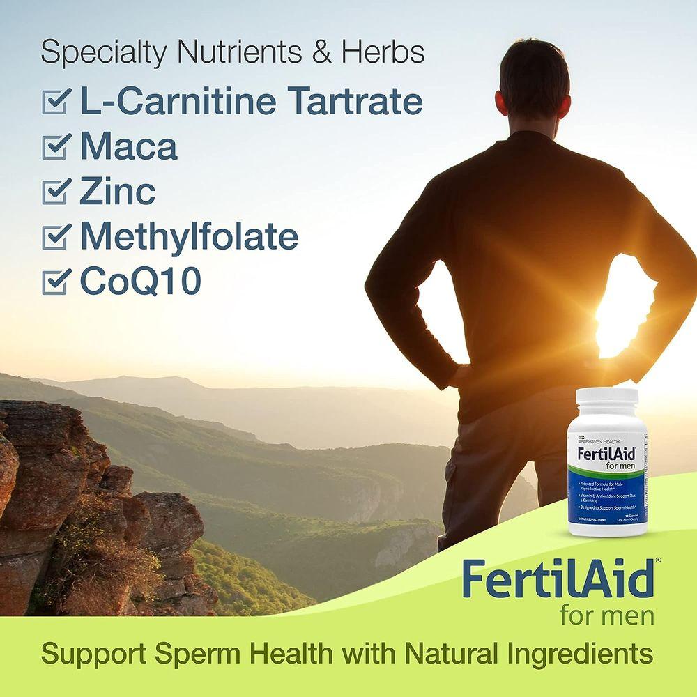 FertilAid for Men, Male Fertility Supplement & Prenatal Vitamin, Supports Sperm Count & Motility, Maca/L-Carnitine/CoQ10 to Target Fertility, Methylfolate/Zinc/VIT D & More to Fill Your Nutrient Gaps