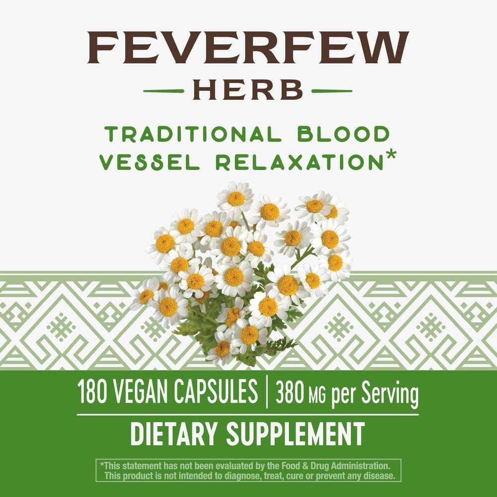 Nature's Way Feverfew, 380 mg TRU-ID Certified Non-GMO Project Vegetarian, 180 Capsules