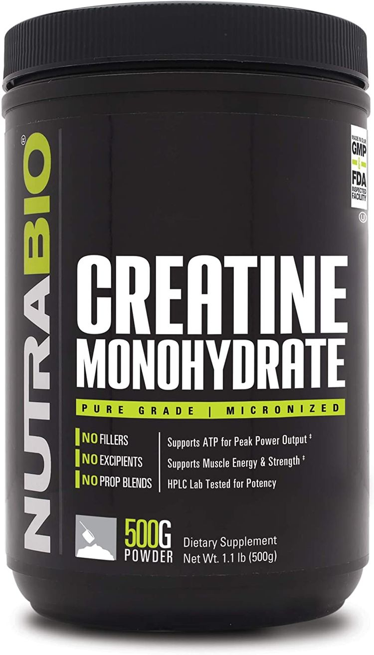 NutraBio Creatine Monohydrate - Micronized and Pure Grade - Supports Muscle Energy and Strength - (500 Grams) - Unflavored, HPLC Tested