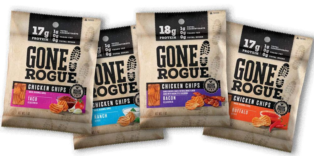 Gone Rogue High Protein Chips, Low Carb, Gluten Free, Keto Friendly Snacks - Variety Pack, 4 pack, 4 Flavors: Ranch Style Chicken, Taco Style Chicken, Chicken Bacon & Buffalo Style Chicken