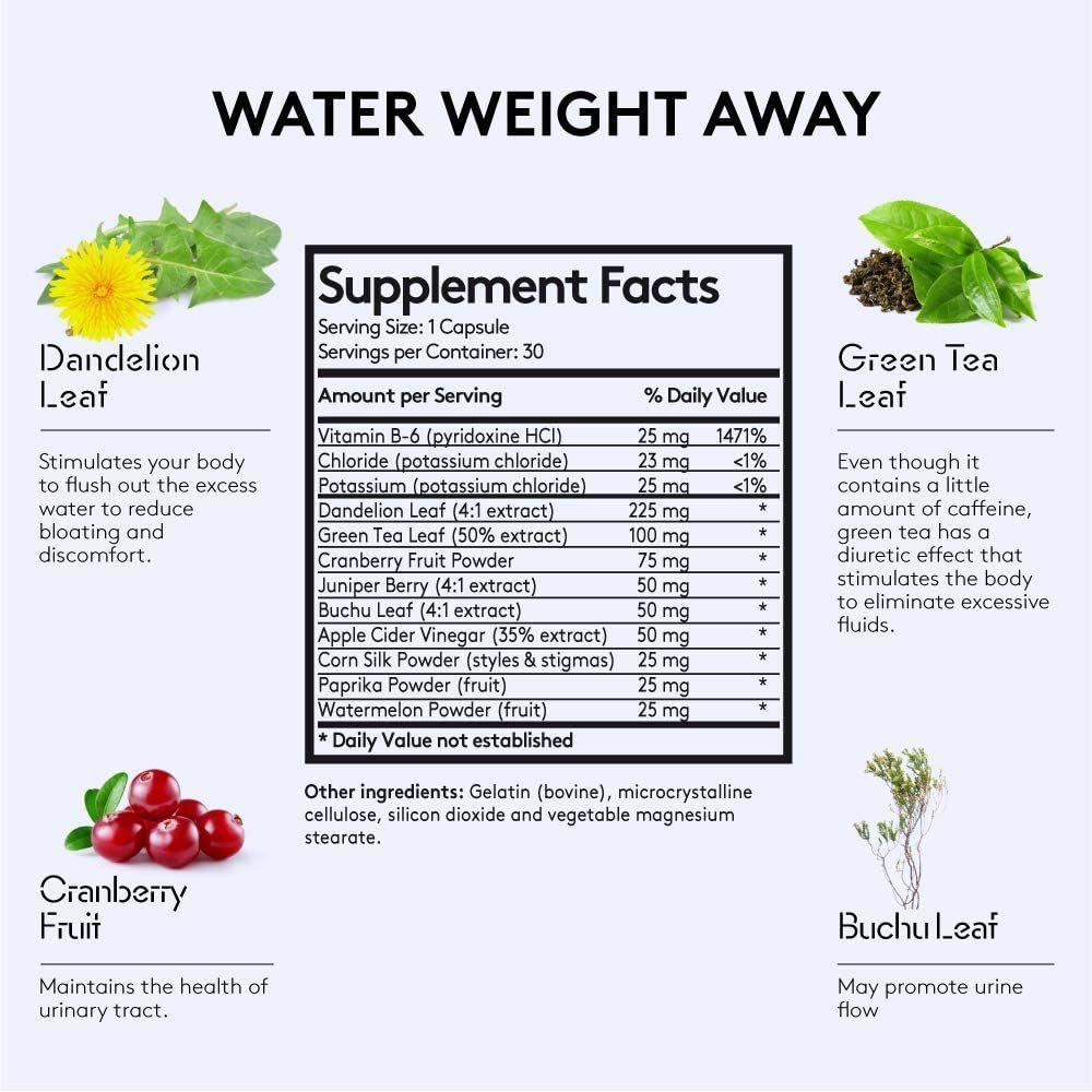 Water Weight Away Pills to Relief Ankle Swelling & Belly Bloat Reducing Waist Line | Natural Diuretic Supplement w/Dandelion for Water Retention Loss | Cleanse Detox Programs Support for Women & Men