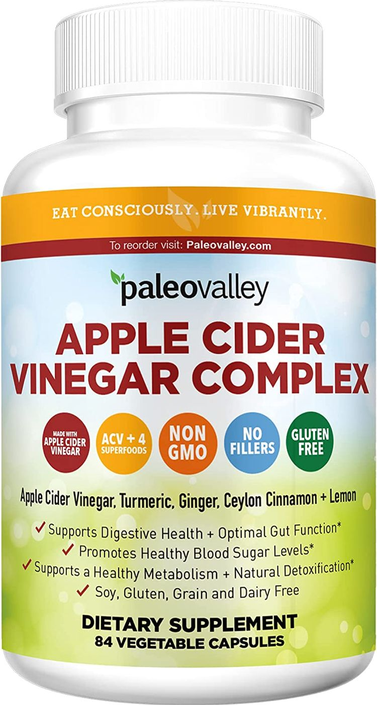 Paleovalley: Apple Cider Vinegar Complex - Nutritional Supplement with Turmeric, Ginger, Ceylon Cinnamon and Lemon - 84 Capsules - Helps Stabilize Blood Sugar - Supports Protein Absorption