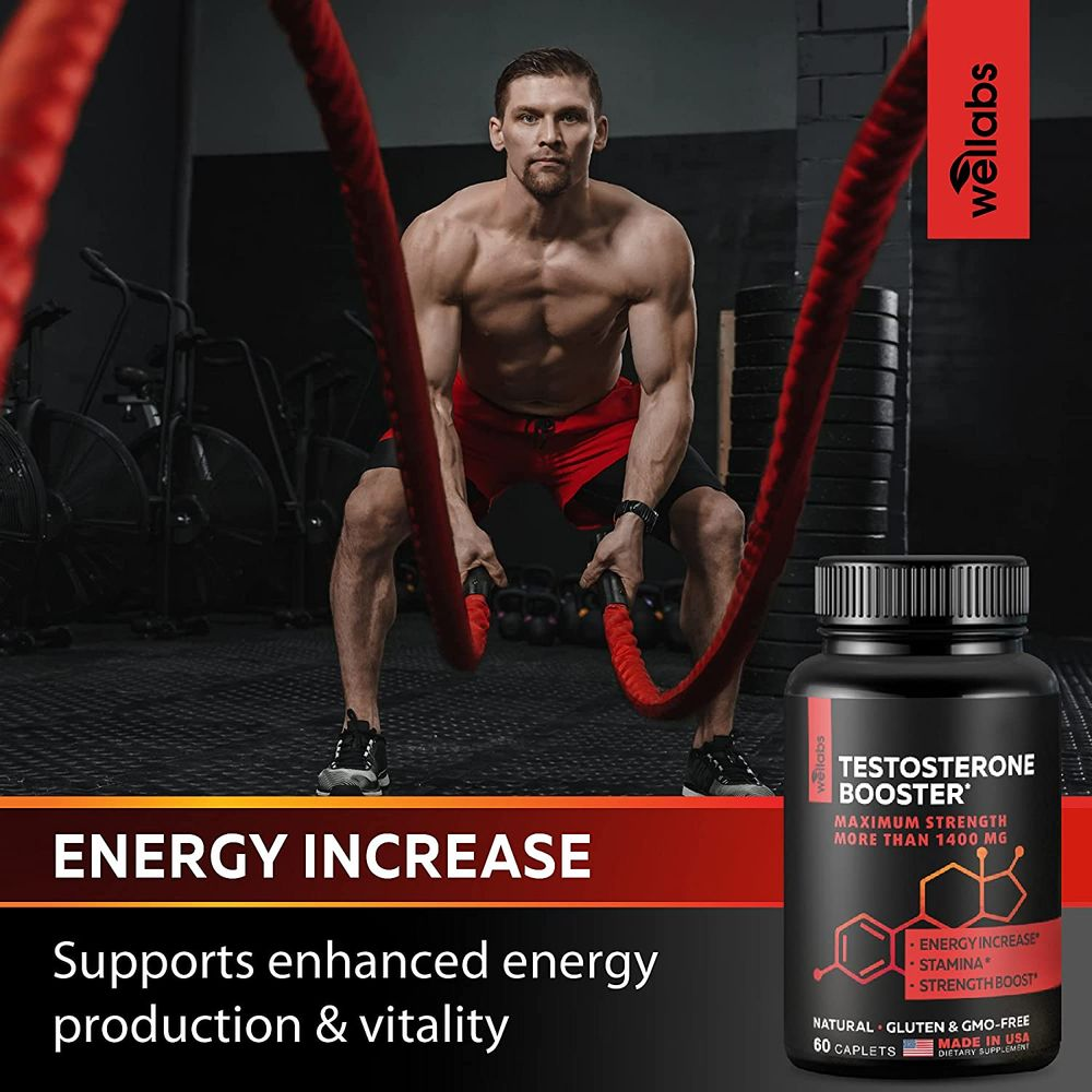 Wellabs Testosterone Booster - Increase Energy, Heighten Libido & Promote Muscle Growth - Raise Testosterone Levels - Made in USA - 60 Caplets