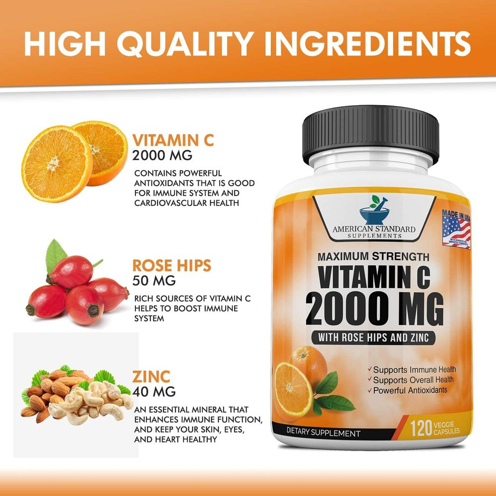 Vitamin C 2000mg with Zinc 40mg Per Serving and Rose Hips Extract, Immune Support for Adults, Immune Booster, Vegan Non GMO, No Filler, No Stearate, 120 Vegan Capsules, 60 Day Supply