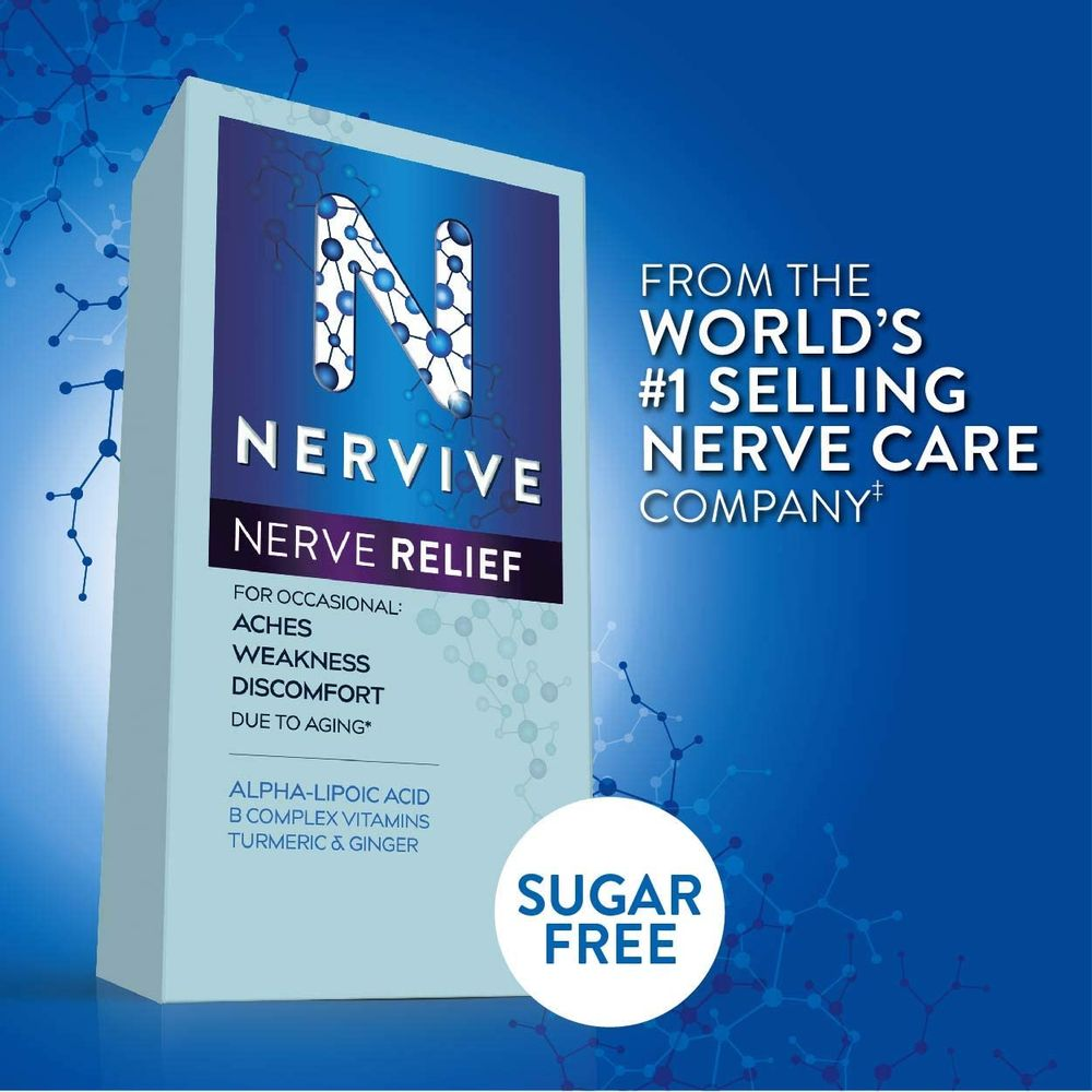 Nervive Nerve Relief, for Nerve Aches, Weakness, & Discomfort in Fingers, Hands, Toes, & Feet*†, Alpha Lipoic Acid ALA, Vitamins B1, B6, & B12, Turmeric, Ginger, 30 Daily Tablets, 30-Day Supply