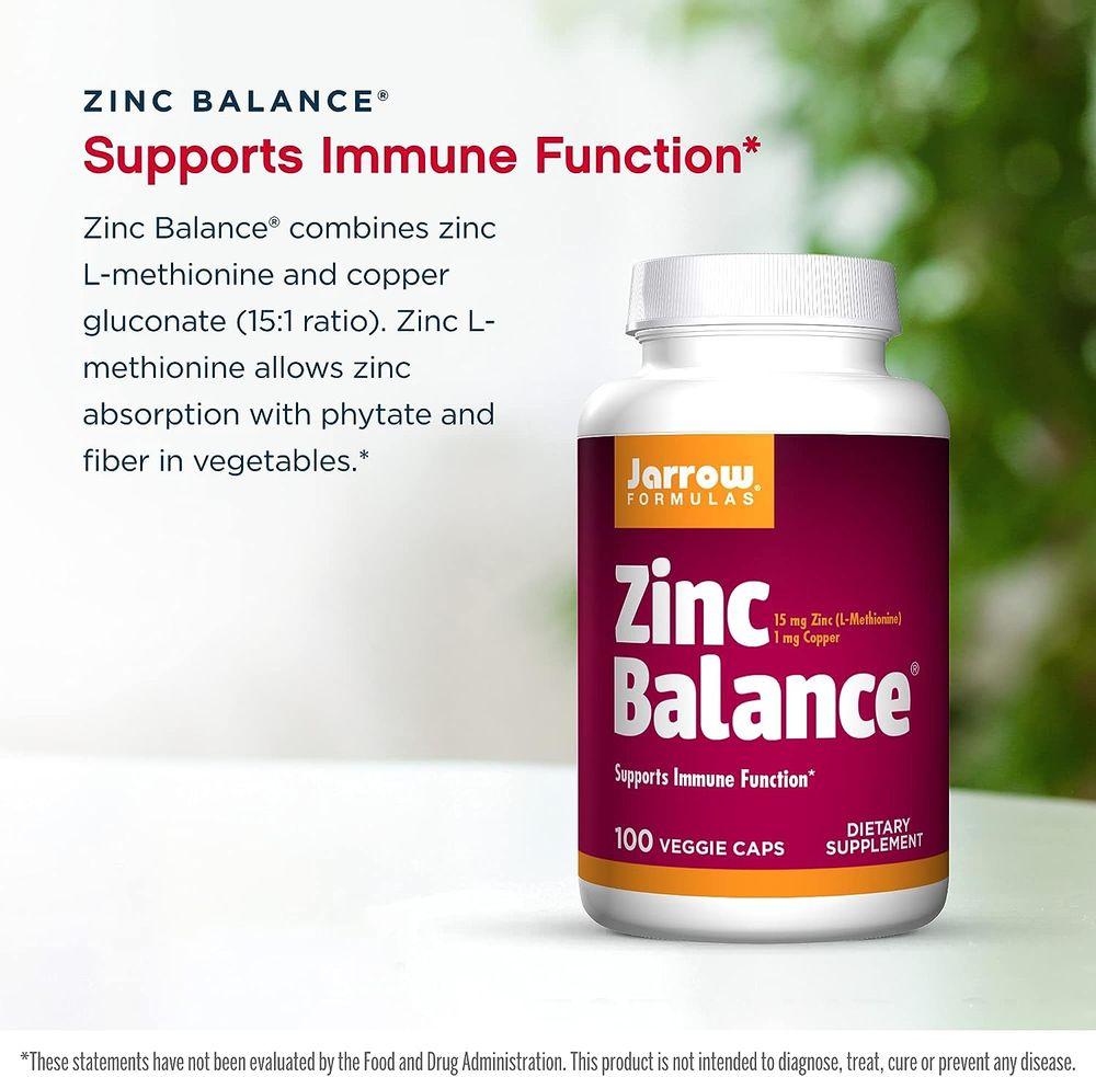 Jarrow Formulas Zinc Balance 15 mg, Immune Support, Includes Copper, White, 100 Count