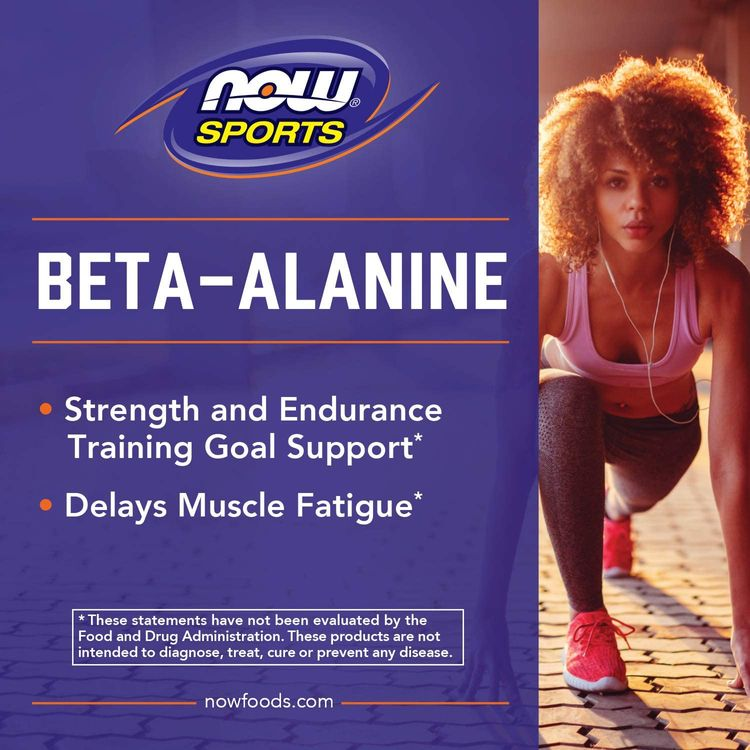 NOW Sports Nutrition, Beta-Alanine 750 mg, Delays Muscle Fatigue*, Endurance*, 120 Capsules