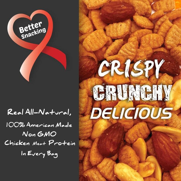 CHXN-SNX Crispy Protein Bites, Sriracha with Peanuts and Almonds, 7 Servings, 70 Gram of Protein Per Bag, 7.4 Ounce