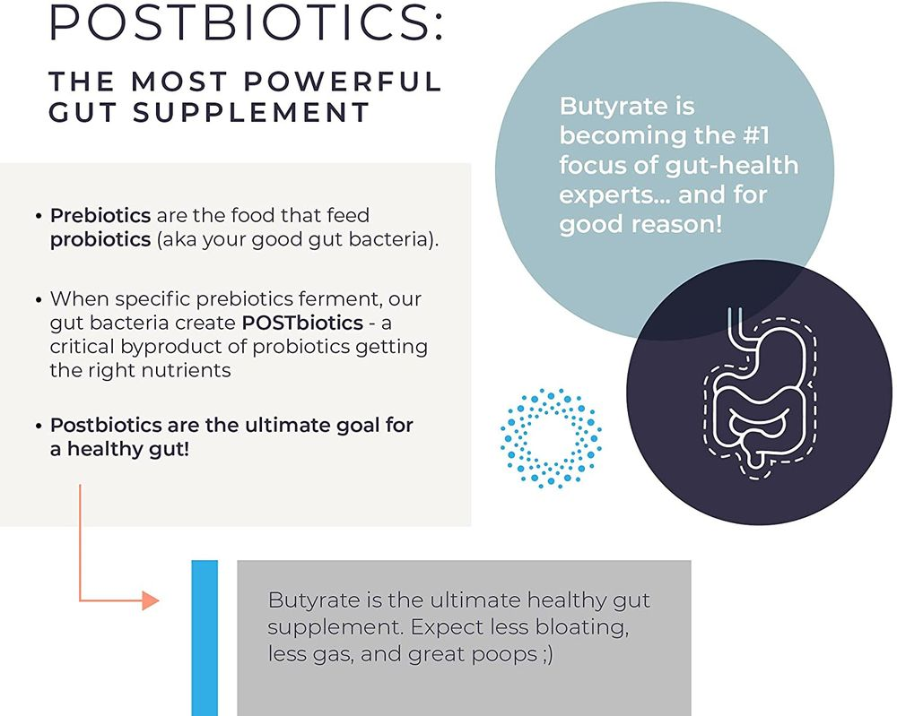 Gut Health Supplement 100 Caps - Butyrate + Calcium + Magnesium   The Ultimate Postbiotic   No Bloating   No Gas   Great Poops   Supports Healthy Digestion   Leaky Gut Repair   No Filler or Additives by BodyBio