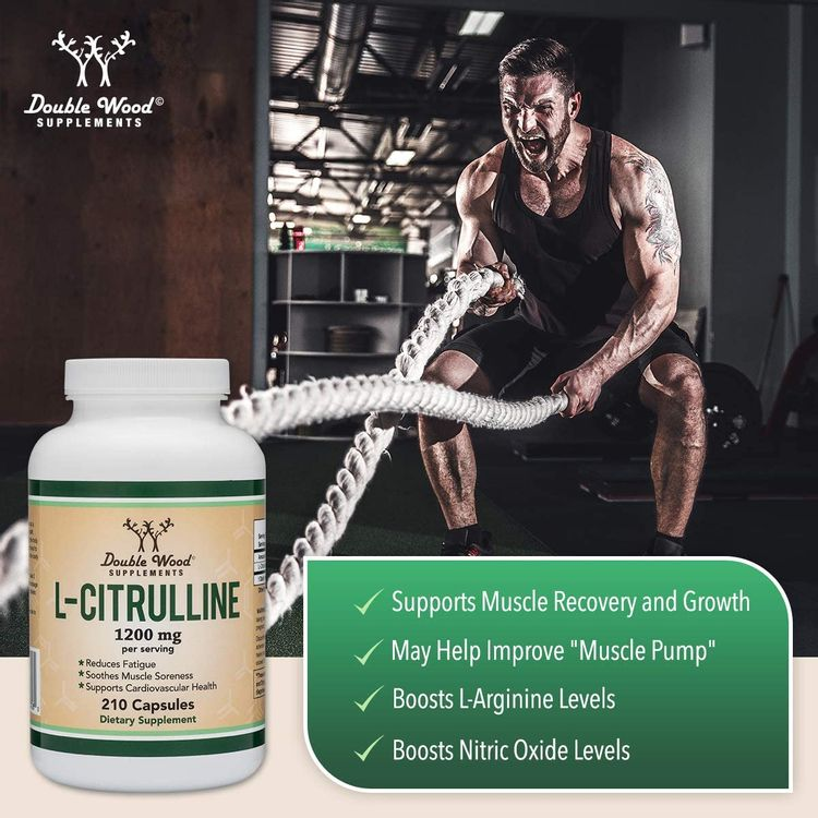 L Citrulline Capsules 1,200mg Per Serving, 210 Count (L-Citrulline Increases Levels of L-Arginine and Nitric Oxide) Muscle Recovery Supplement – Improve Muscle Pump by Double Wood Supplements