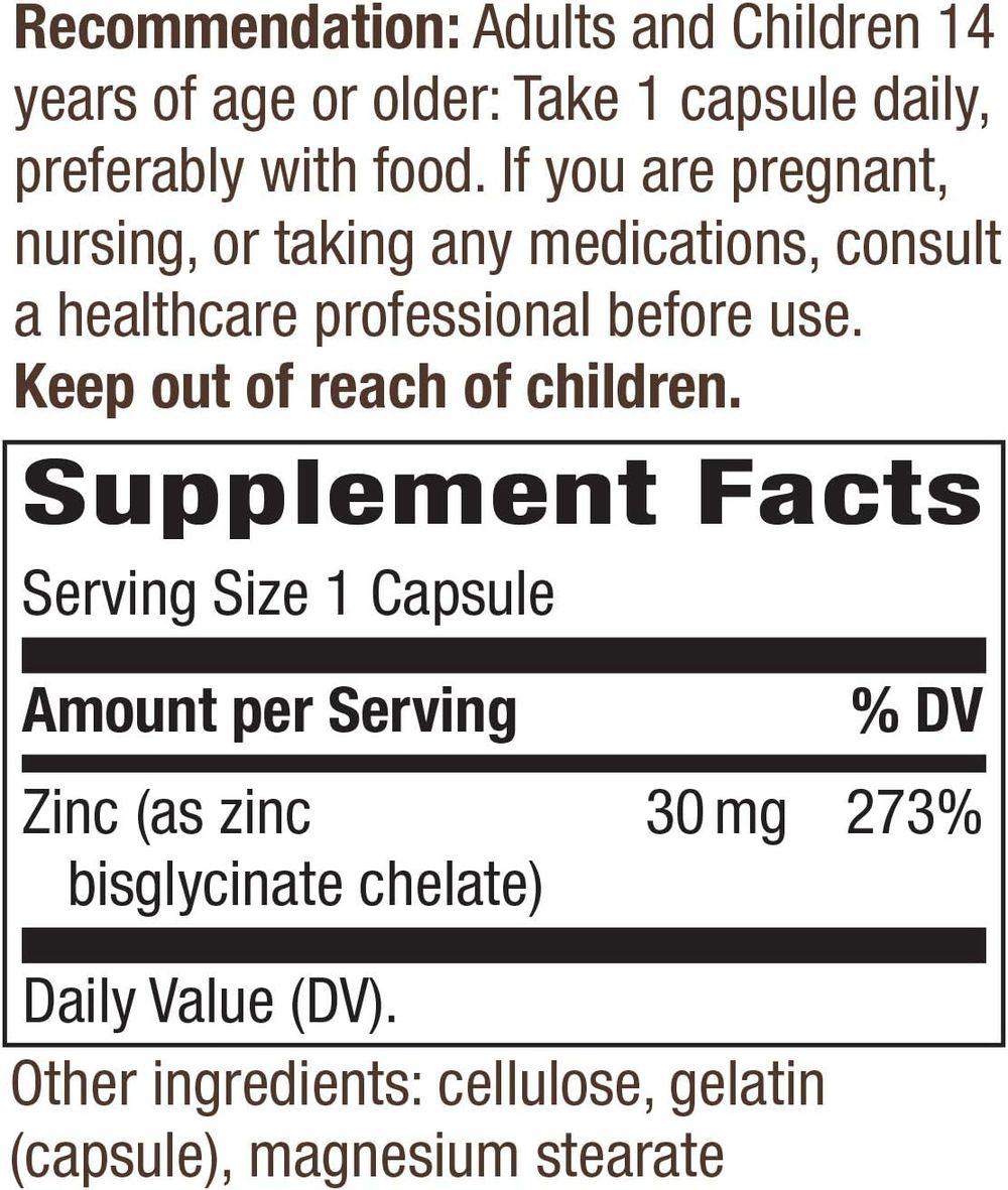 Nature's Way Zinc, 30 mg per serving, 100 capsules (Packaging May Vary)