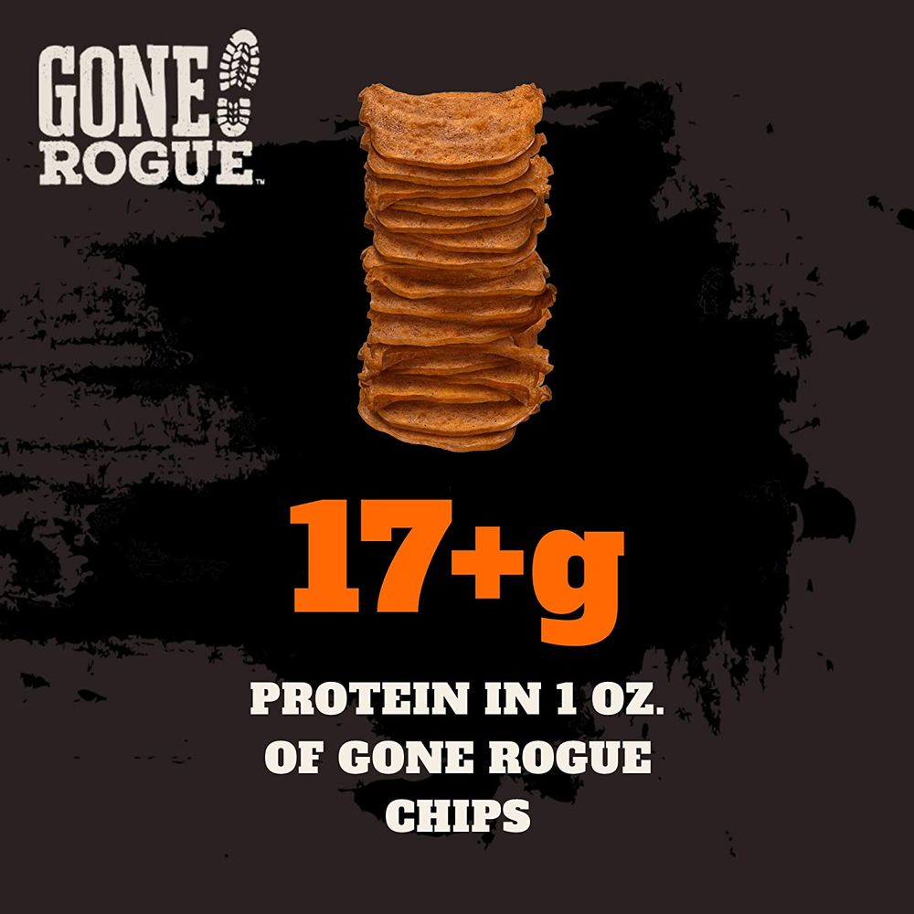 Gone Rogue High Protein Chips, Low Carb, Gluten Free, Keto Friendly Snacks - Variety Pack, 4 pack, 4 Flavors: Chicken Bacon, Buffalo Style Chicken, Teriyaki Chicken & BBQ Chicken
