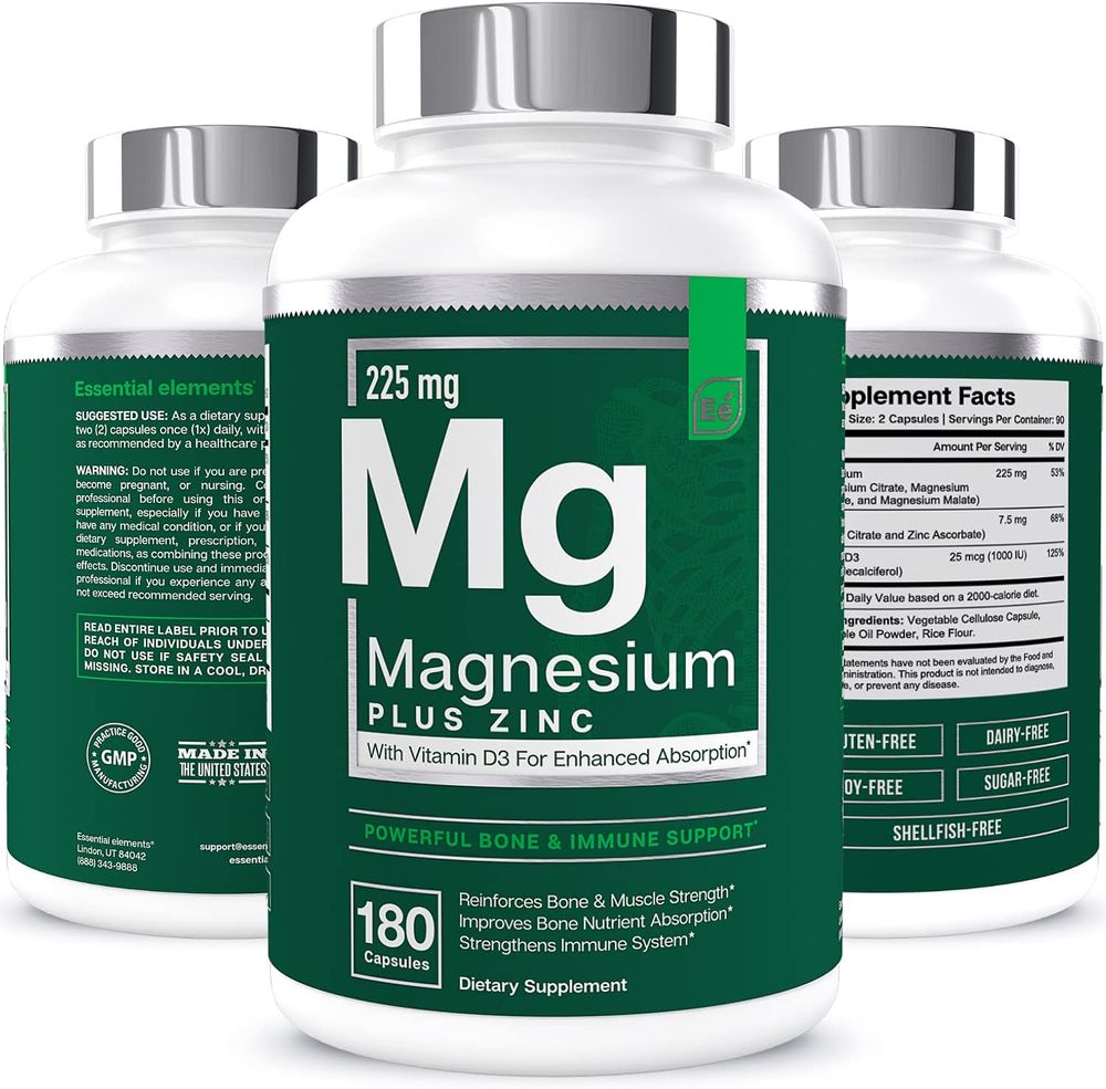 Magnesium + Zinc with Vitamin D3 by Essential Elements - Immune & Bone Support | Magnesium Glycinate, Citrate, Malate - Highly Bioavailable - 3 Month Supply