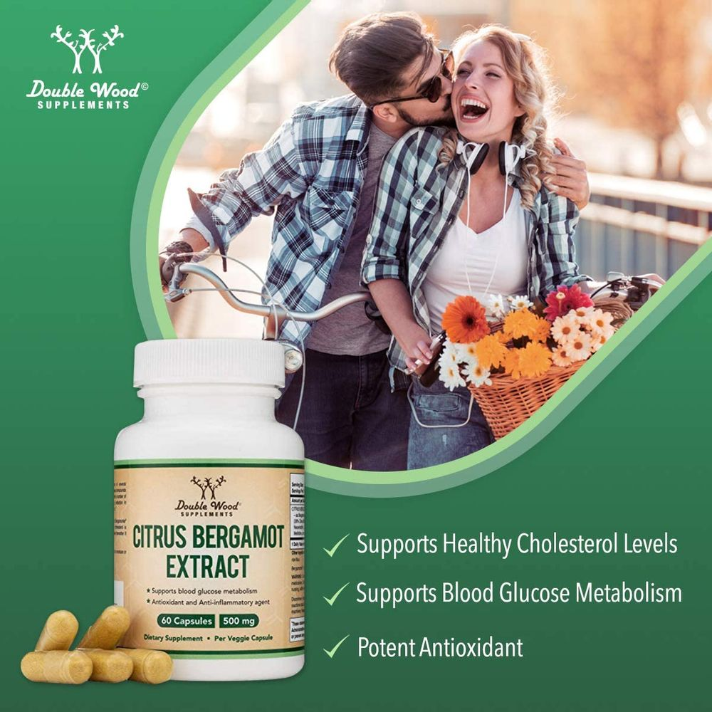 Citrus Bergamot Capsules 1,000 mg per Serving (Patented Bergamonte Vegan High Cholesterol Support Extract) Citrus Fruit Bioflavonoids Sourced from Italy and Made in USA (60 Capsules) by Double Wood