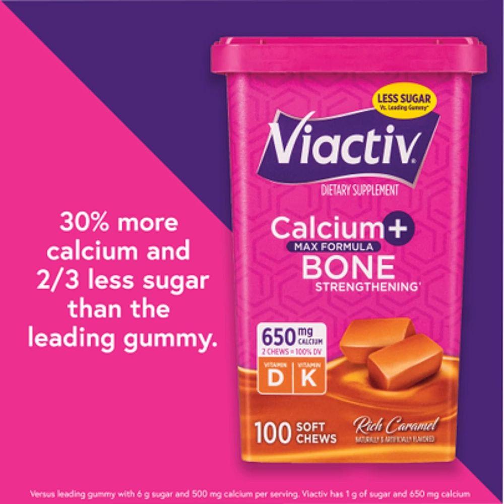 Viactiv Calcium +D Supplement Soft Chews, Caramel, 100-Count