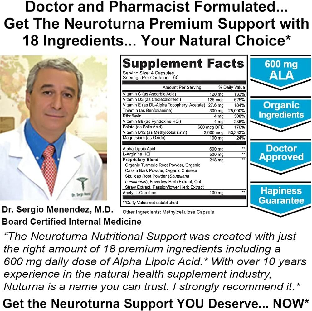 Neuropathy Support Supplement with 600 mg Alpha Lipoic Acid Daily Dose - Peripheral Neuropathy - Feet Hand Legs Toe Support Formula with 18 Premium Ingredients* - 120 Caps 30 Day Supply