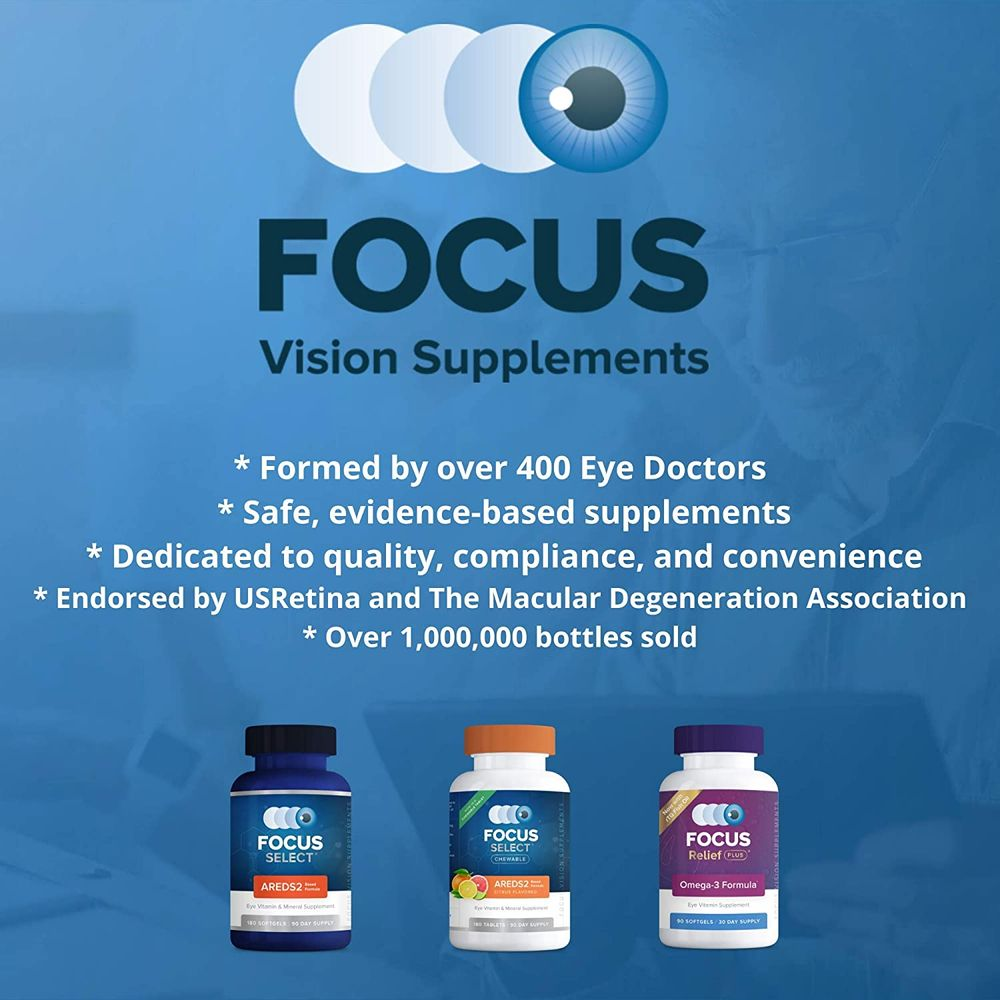 Focus Select® AREDS2 Based Eye Vitamin-Mineral Supplement - AREDS2 Based Supplement for Eyes (180 ct. 90 Day Supply) - AREDS2 Based Low Zinc Formula - Eye Vision Supplement and Vitamin