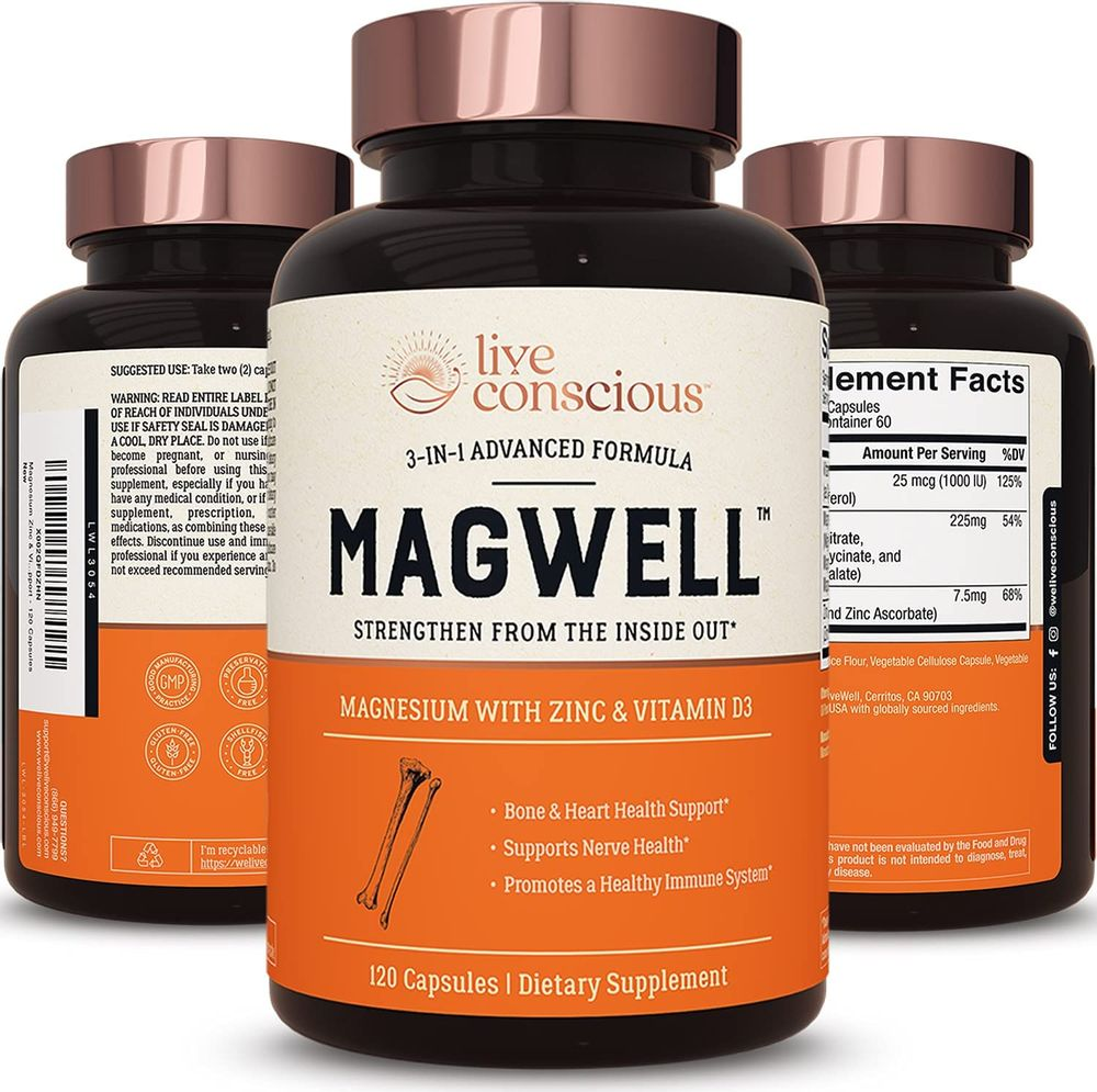 Magnesium Zinc & Vitamin D3 - Most Bioavailable Forms of Magnesium - Malate, Glycinate, Citrate - MagWell by LiveWell | Bone & Heart Health, Immune System Support - 120 Capsules
