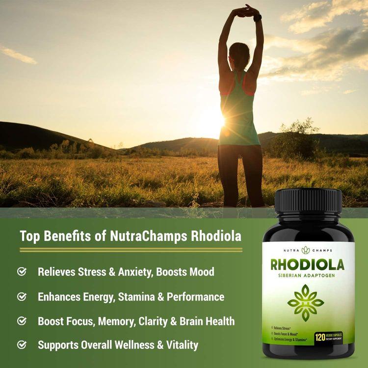 Rhodiola Rosea Supplement 600mg - 120 Capsules Siberian Root Extract 3% Rosavins & 1% Salidroside - Pure Maximum Strength Powder - 300mg Vegan Pills for Stress Relief, Mood, Focus & Energy