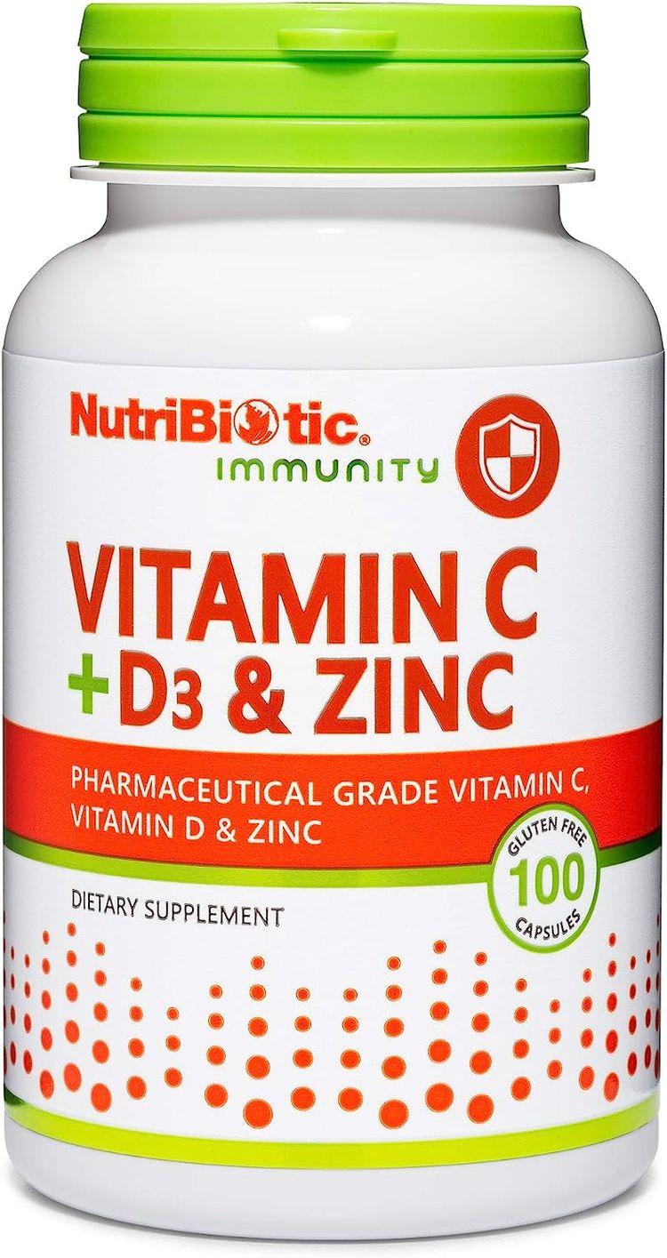 NutriBiotic – Vitamin C + Vitamin D3 & Zinc, 100 Capsules   Potent, Comprehensive Immune Support   Essential & Antioxidant Daily Supplement   Gluten & GMO Free
