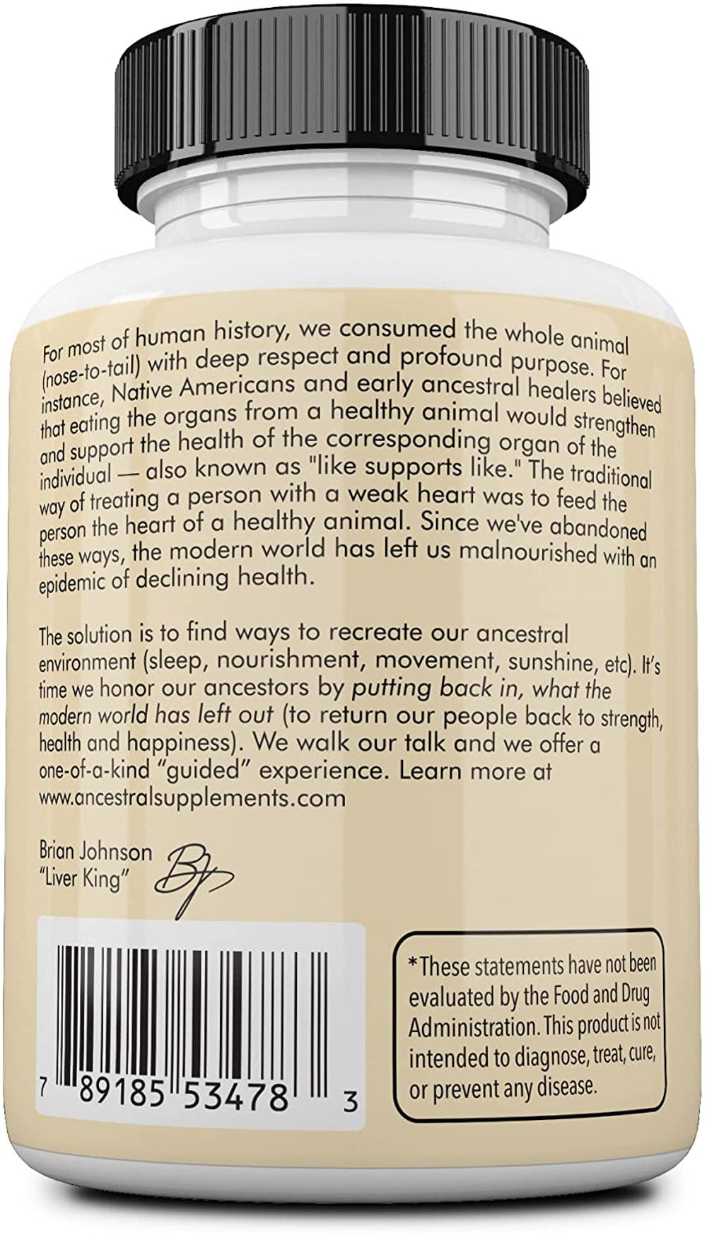 Ancestral Supplements Grass Fed Beef Liver (Desiccated) — Natural Iron, Vitamin A, B12 for Energy (180 Capsules)