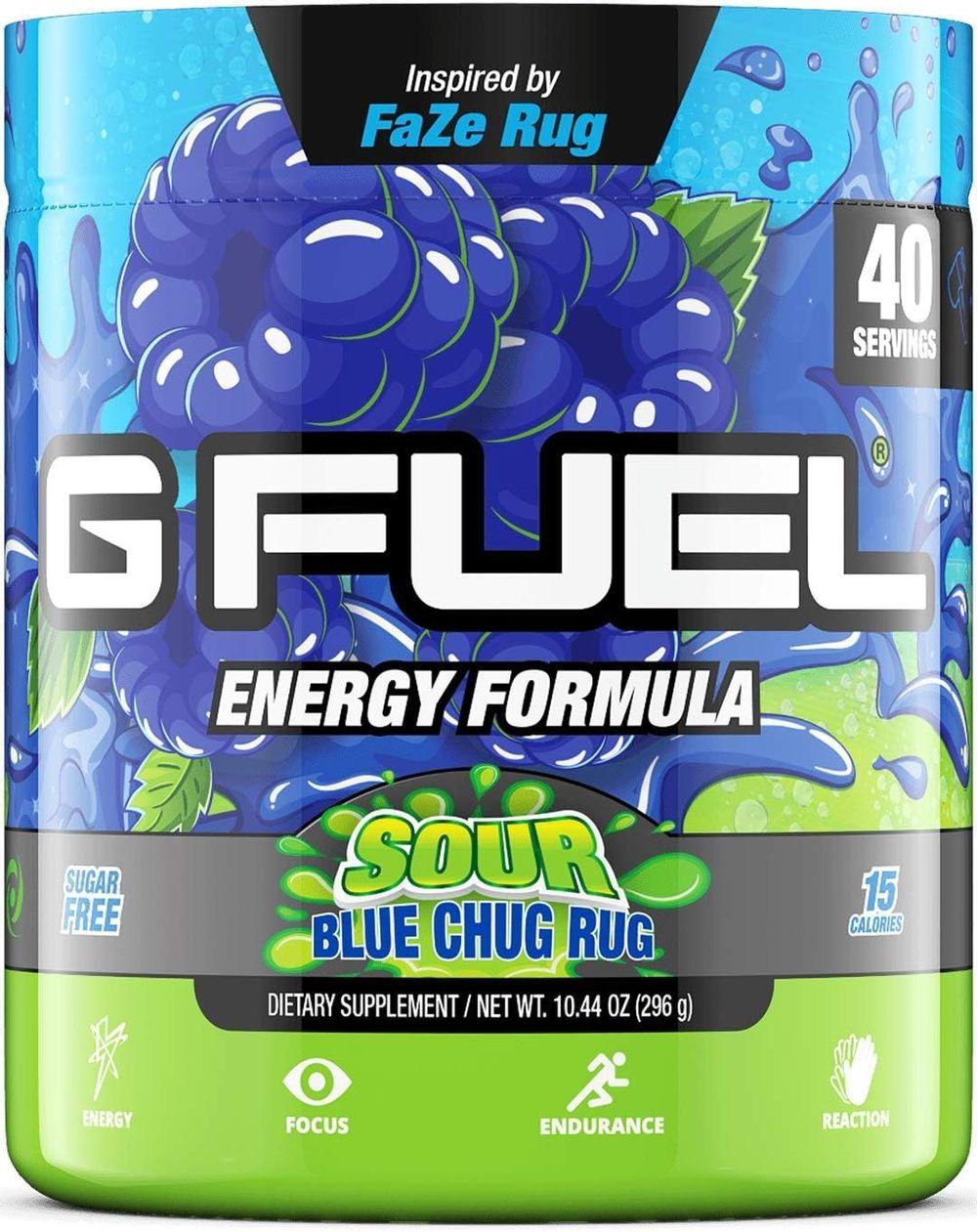 G Fuel Sour Blue Chug Rug Elite Energy Powder Inspired by Faze Rug, 10.44 oz (40 Servings)