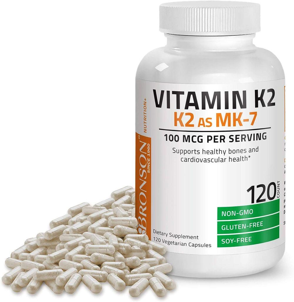 Bronson Vitamin K2 as MK-7 Menaquinone 100 mcg Non-GMO, 120 Capsules