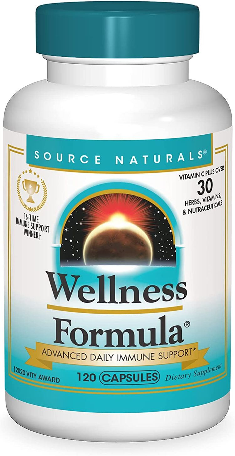 Source Naturals Wellness Formula Bio-Aligned Vitamins & Herbal Defense for Immune System Support - Dietary Supplement & Immunity Booster - 120 Capsules