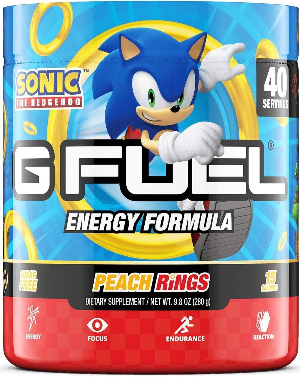 G Fuel Sonic's Peach Rings Elite Energy Powder, 9.8 oz (40 Servings)