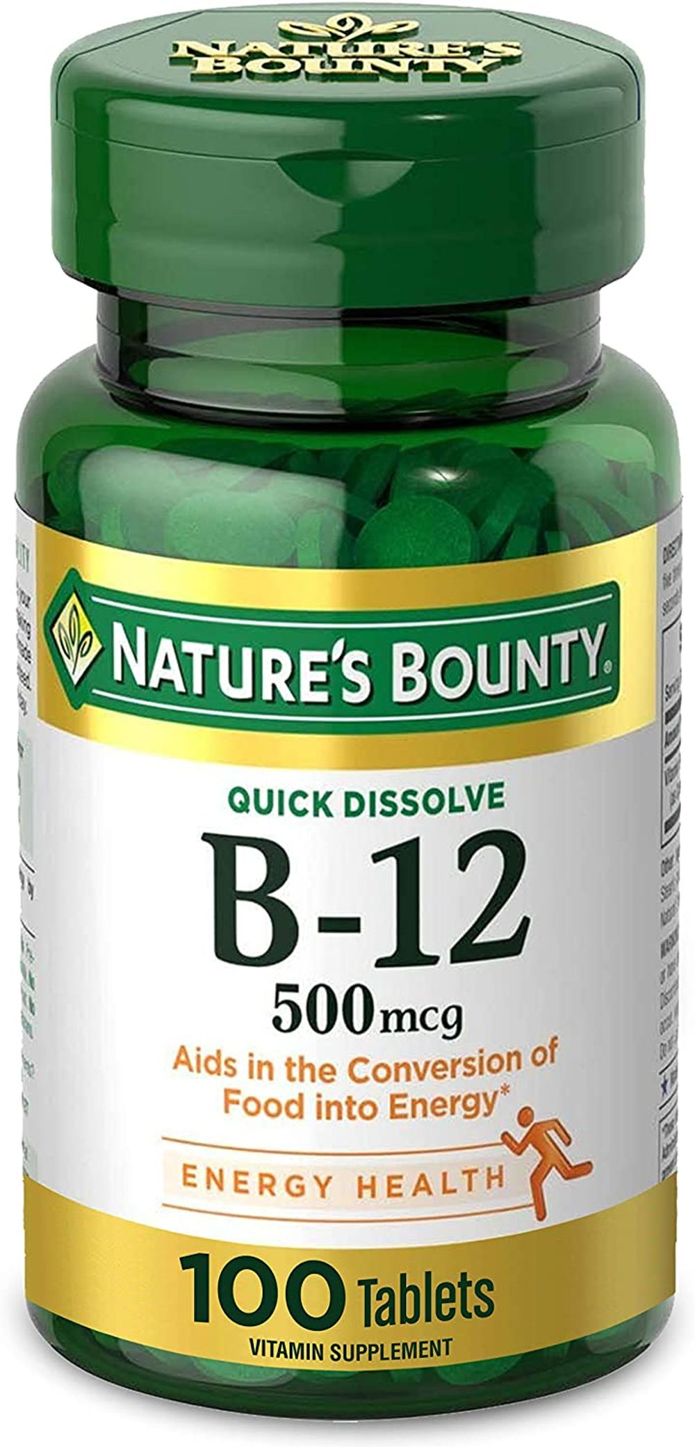 Nature's Bounty Vitamin B-12 Supplement, Supports Metabolism and Nervous System Health, 500mcg, 100 Tablets