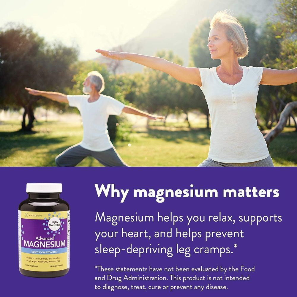 InnovixLabs Advanced Magnesium, High Absorption Magnesium Glycinate & Magnesium Malate, Highly Bioavailable Chelated Magnesium, 210 mg per Serving, Soy & Gluten-Free, Non-GMO & Vegan, 150 Capsules