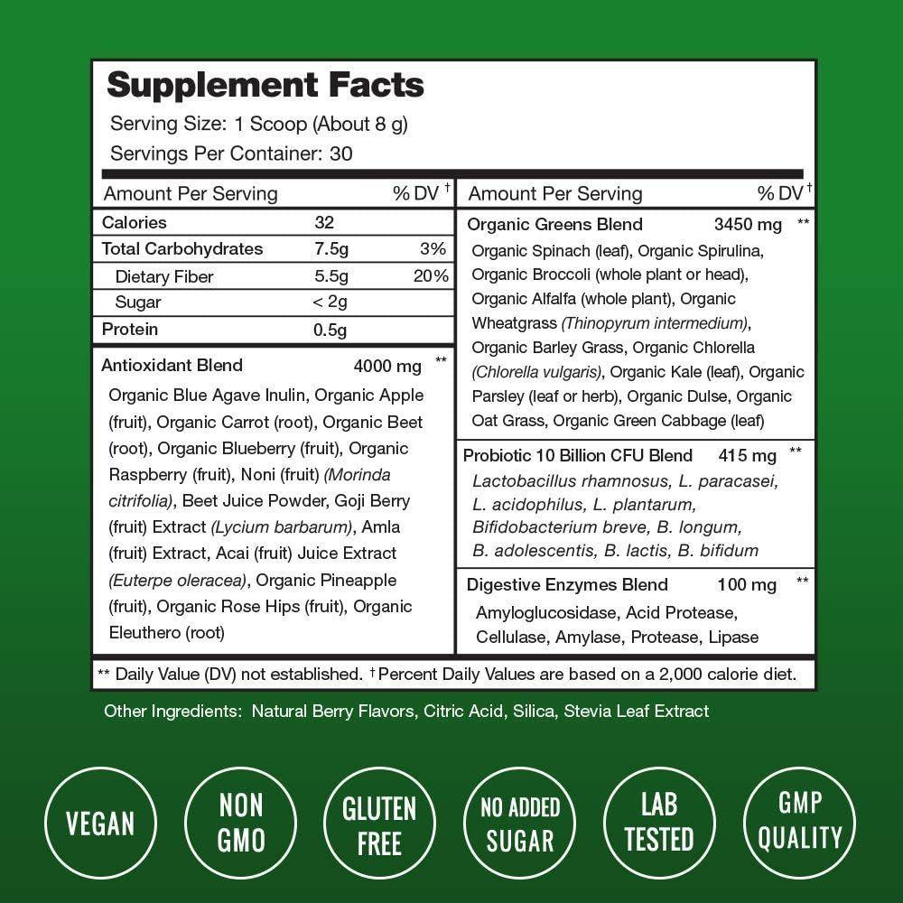 Super Greens Powder Premium Superfood - 20+ Organic Green Veggie Whole Foods - Wheat Grass, Spirulina, Chlorella & More - Antioxidant, Digestive Enzyme & Probiotic Blends | Vegan Juice Supplement