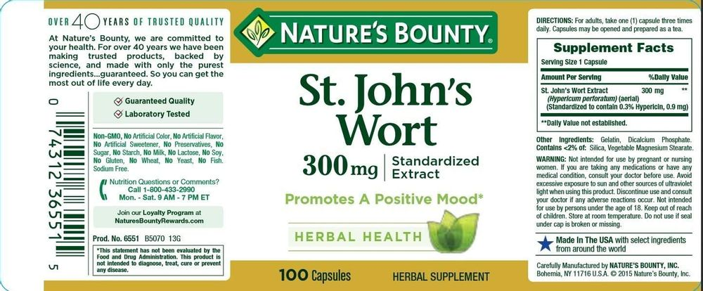 Nature's Bounty St. John's Wort Pills and Herbal Health Supplement, Promotes a Positive Mood, 300mg, 100 Capsules