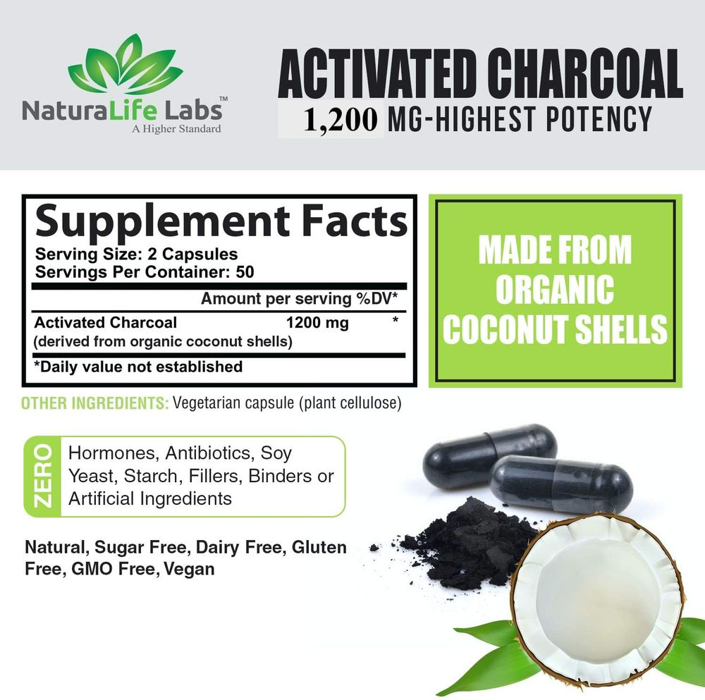 Activated Charcoal Capsules - 1,200 mg Highly Absorbent Helps Alleviate Gas & Bloating Promotes Natural detoxification Derived from Coconut Shells - per Serving - 100 Vegan Capsules