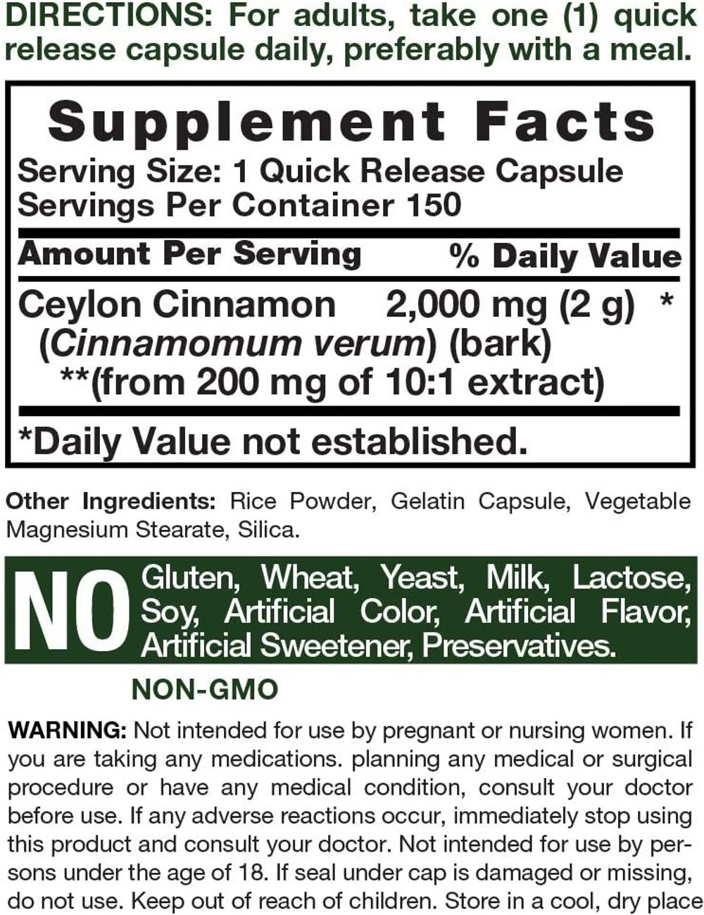 Ceylon Cinnamon Capsules | 2000 mg | 150 Count | Non-GMO & Gluten Free Pills | by Horbaach