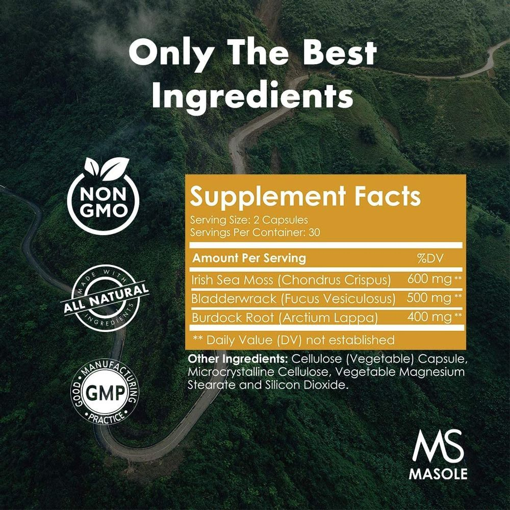 Premium High Absorption Wildcrafted Sea Moss   1500mg Organic Irish Sea Moss, Bladderwrack, Burdock Root   60 Vegan Capsules - Masole Labs by Sincere Supplements
