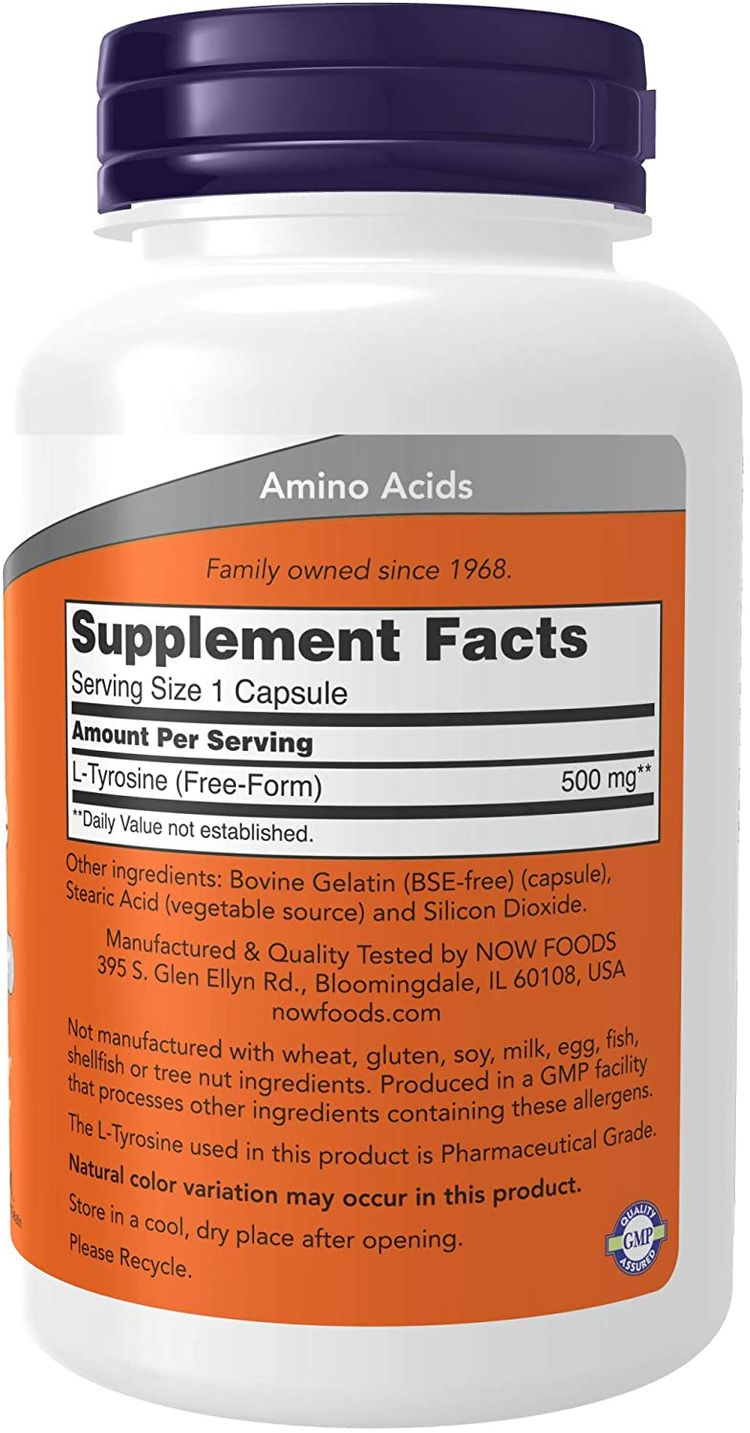 NOW Supplements L-Tyrosine 500 mg Supports Mental Alertness Neurotransmitter Support , 120 Capsules