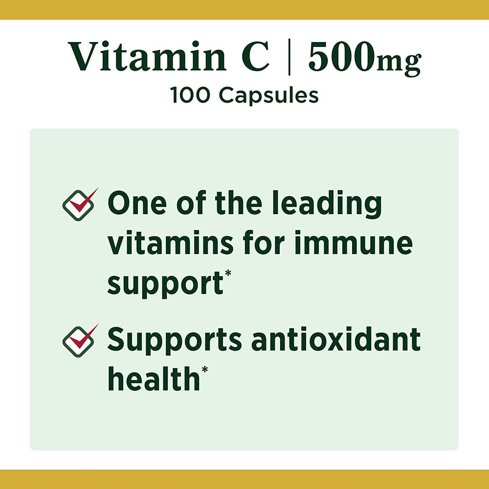 Nature's Bounty Vitamin C by Nature's Bounty for immune support. Vitamin C is a leading leading vitamin for immune support.* 500mg, Capsules White 500 mg, 100 Count (Pack of 1)