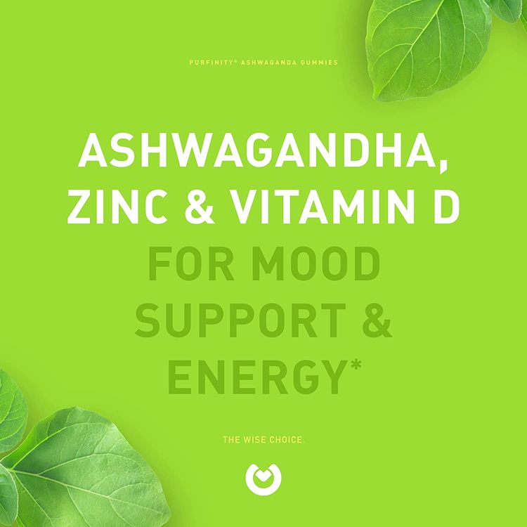 Ashwagandha Gummies – Herbal Gummy Supplement with Vitamin D & Zinc for Stress Relief, Mood Support & Immune Health. Gluten Free, Non-GMO and Vegan - Delicious Apple Flavor!