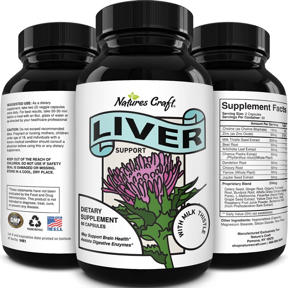 Liver Supplements with Milk Thistle - Artichoke - Dandelion Root Support Healthy Liver Function for Men and Women Natural Detox Cleanse Capsules Boost Immune System Relief - Natures Craft