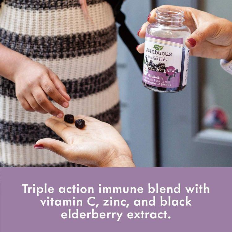 Nature's Way Sambucus Elderberry Kid's Gummies, Black Elderberry with Vitamin C and Zinc, 60 Count