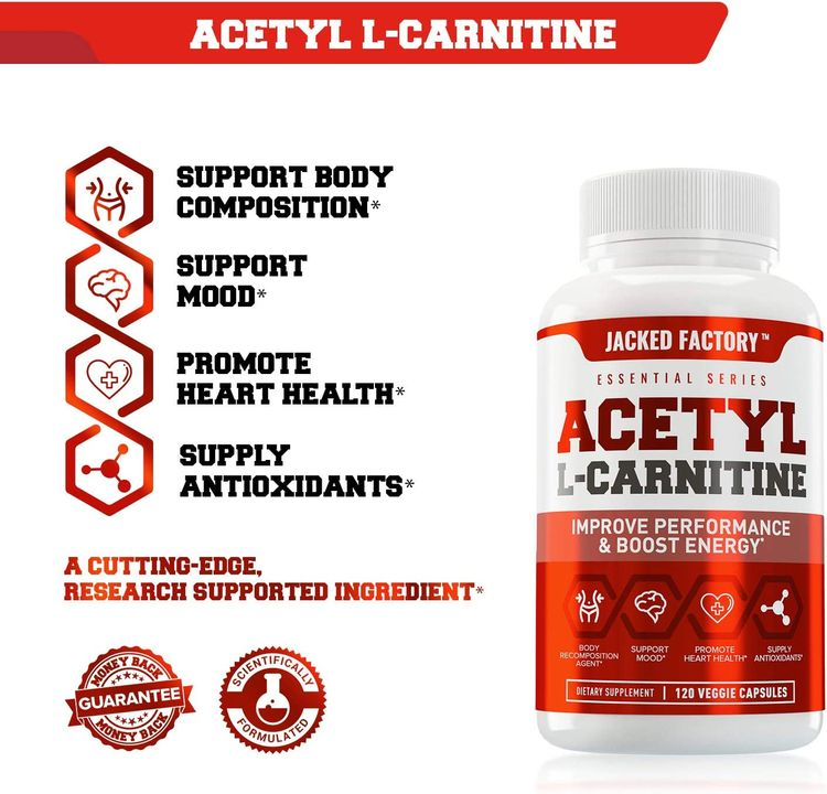 Acetyl L Carnitine 750mg Supplement - Extra Strength L-Carnitine (ALCAR) for Energy, Body Recomposition, Memory & More - Zero Fillers - 120 Non GMO Veggie Pills